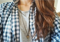 Blue plaid and gold necklace
