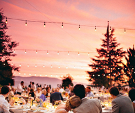 Sunset wedding party