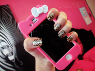 Leopard print nails and hello kitty case