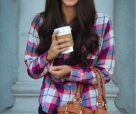 Leather purse and hot coffee