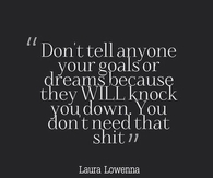 Dont Tell Anyone Your Goals