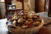 Basket of chocolate chip cookies