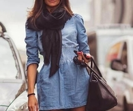 Denim Shirt Dress with Thigh High Suede Boots