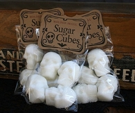 Molded skull sugar cubes