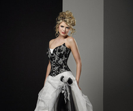 Strapless A-Line Black & White Organza Gown
