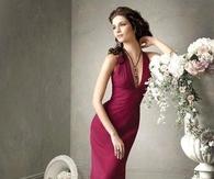 Dark Red Floor Length Halter Dress
