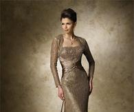 Elegant Floor Length Sleeved Beige Lace Gown