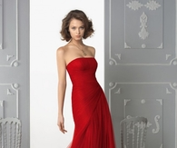 Tulle Strapless A-Line Red Gown with Side Gathered Skirt