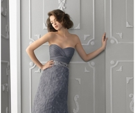 Satin Sweetheart Neckline A-Line Evening Gown of Soft Grey