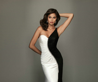 Black & White Off Shoulder Satin Gown
