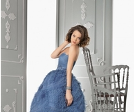 Blue-Gray Strapless Dress with Tulle Skirt