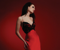 Red & Black Floor Length Satin Gown