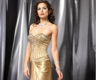Stunning Gold Satin Strapless Beaded Evening Gown