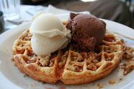 Ice cream and waffles