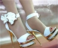 Elegant White PU Flower Platform Sandals