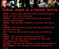 Zodiac Signs in a horror movie