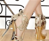 2014 Fashion Charming Gold High Heel Prom Shoes