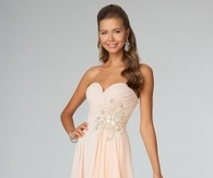 Peach Sparkly Long Dress