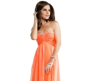 Apricot Chiffon Long Babydoll Prom Dress with Ruched Bodice