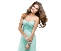 Sweet Mint Strapless Column Prom Dress in Crystal Pleated Chiffon