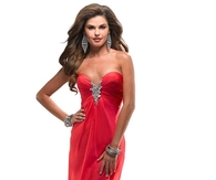 Strapless Poppy Chiffon Babydoll Prom Dress with Bead Accent