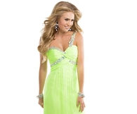 Electric Lime Chiffon Long Babydoll Dress with Jeweled Strap