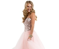 Pink Long Tulle Ball Gown Prom Dress with Sequined Bodice