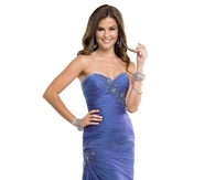 Shimmer Blueberry Chiffon Long Prom Dress with Beaded Lace