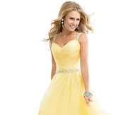 Lemon Sweetheart Tulle Ball Gown Prom Dress with Jewelled Straps