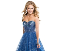 Strapless Deep Indigo Beaded Sequin Tulle Ball Gown Prom Dress