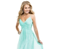 Mint Long Open Back V-neck Prom Dress with Spaghetti Straps
