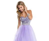 Lilac Sequin Tulle Ball Gown Prom Dress with Sweetheart Neckline