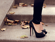 Black Stiletto Pumps with Studs