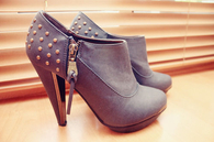 Booties with Studs & Side Zipper