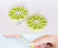DIY Quilled Green Lemon Earrings
