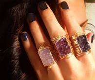 Rectangle Stone Rings