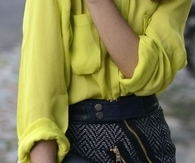 Zipper Skirt and Loose Button Up Blouse