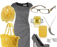 Gold & Gray Professional Work Outfit