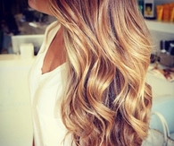 Golden blonde wavy hair