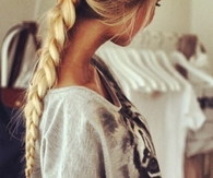 Blonde braided ponytail