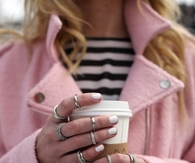 Pink Coat, White Nails & Silver Rings
