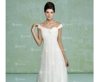 Hot Selling Straps Pleated Bodice A Line Chiffon&Lace Wedding Dress