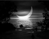 Black & White Crescent Moon on the Water