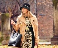 Camel Coat with Leggings & Leopard Print Blouse