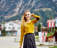 Short Pleated Skirt with Tights & Camel Colored Sweater