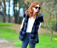 Faux Fur Vest with Polka Dot Leggings & Short Boots