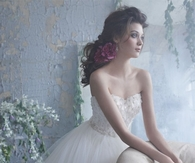 Beautiful Bride in Beaded Strapless Organza Gown