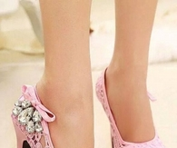 Pink Lace Pumps with Diamond Bling