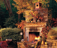 Outdoor Patio decorated for Fall