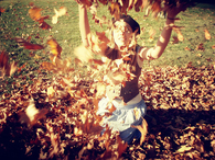 Playing in the leaves